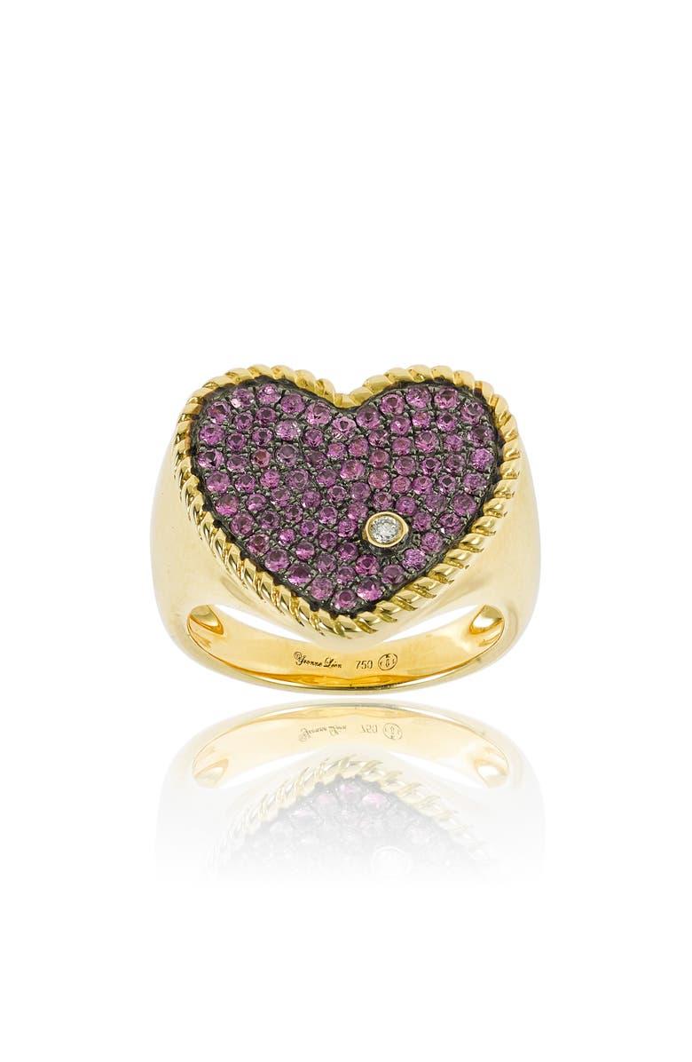 YVONNE LÉON Yvonne Leon Diamond & Pink Sapphire Heart Ring, Main, color, YELLOW GOLD