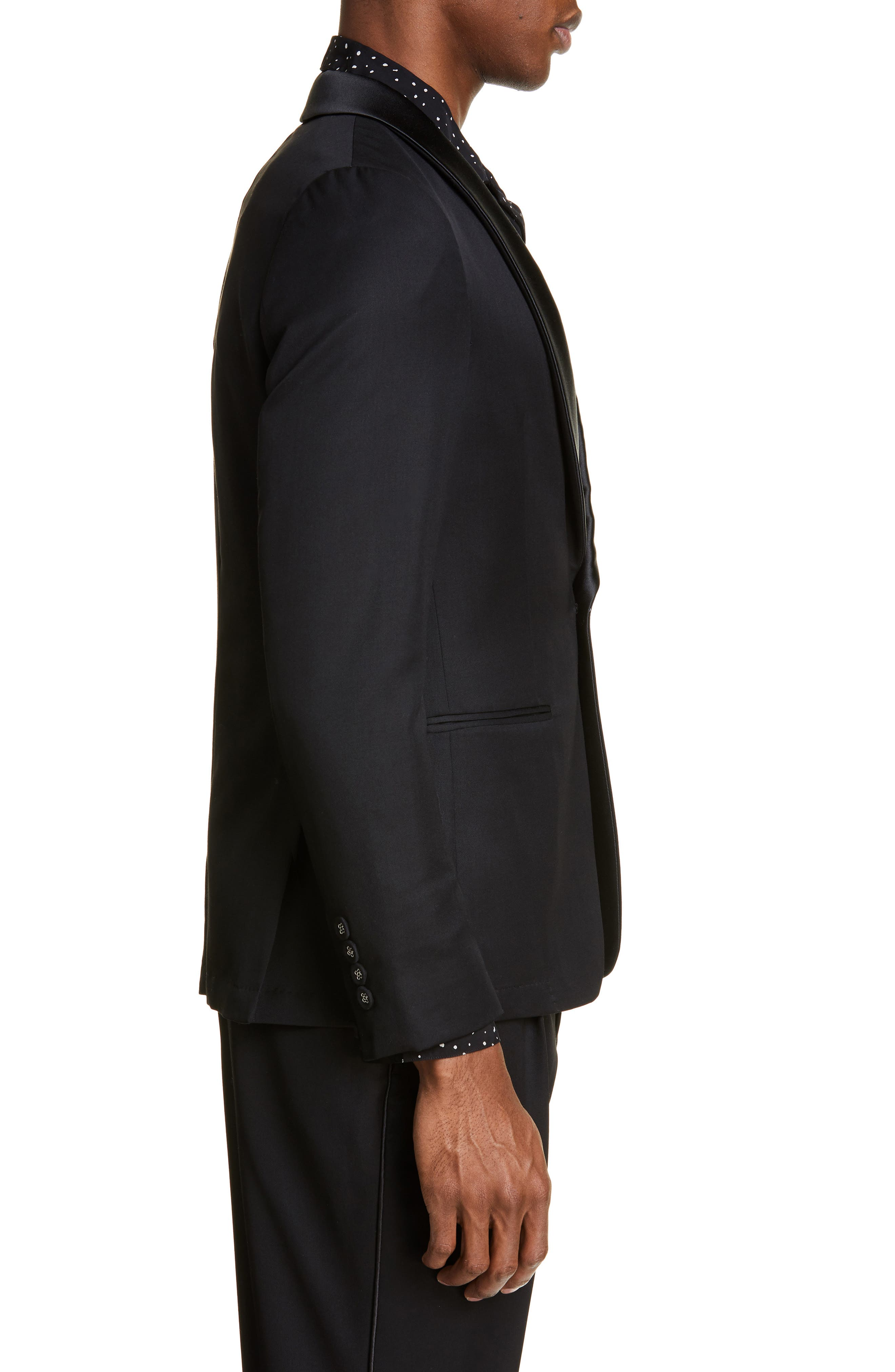 ,                             Wool Dinner Jacket,                             Alternate thumbnail 3, color,                             BLACK