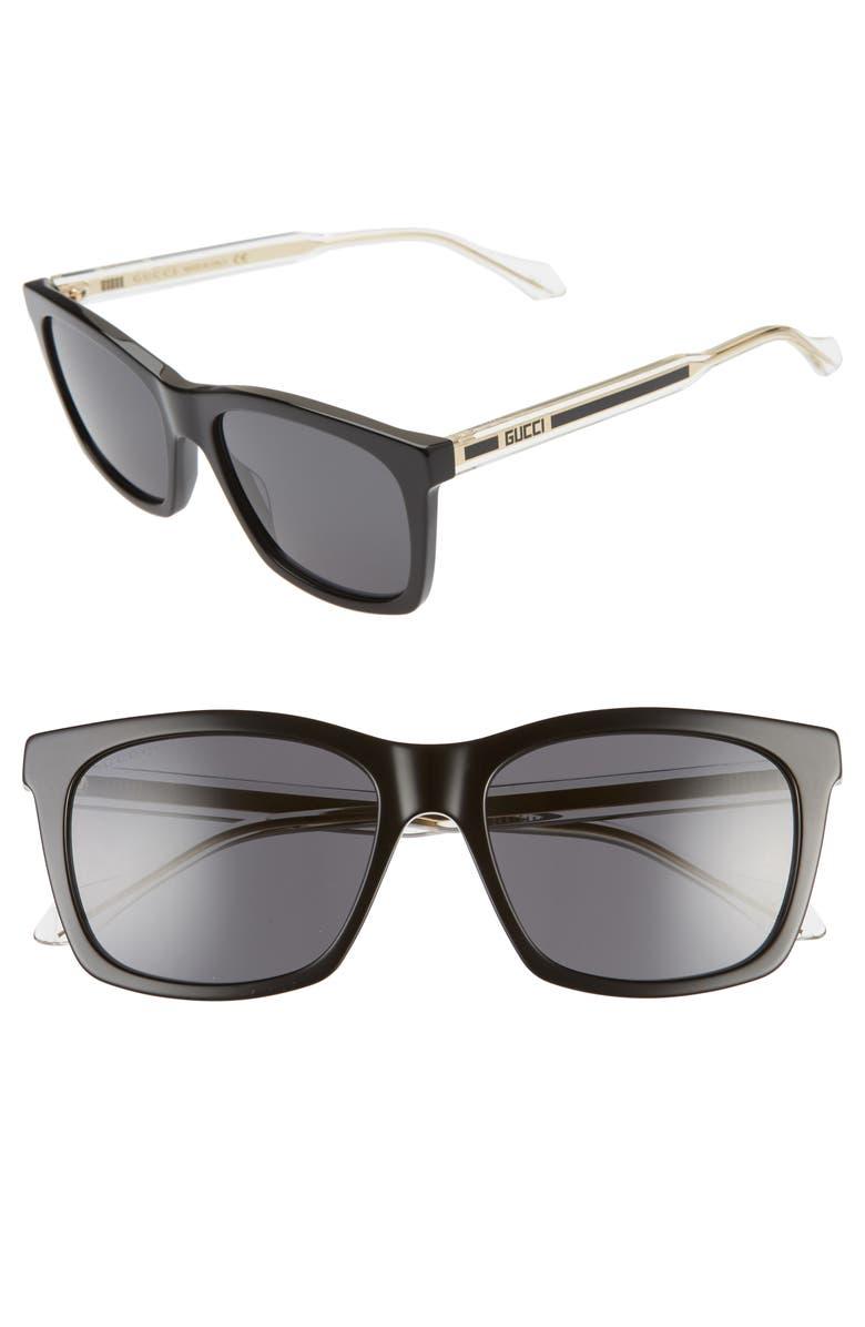 GUCCI 56mm Square Sunglasses, Main, color, BLACK