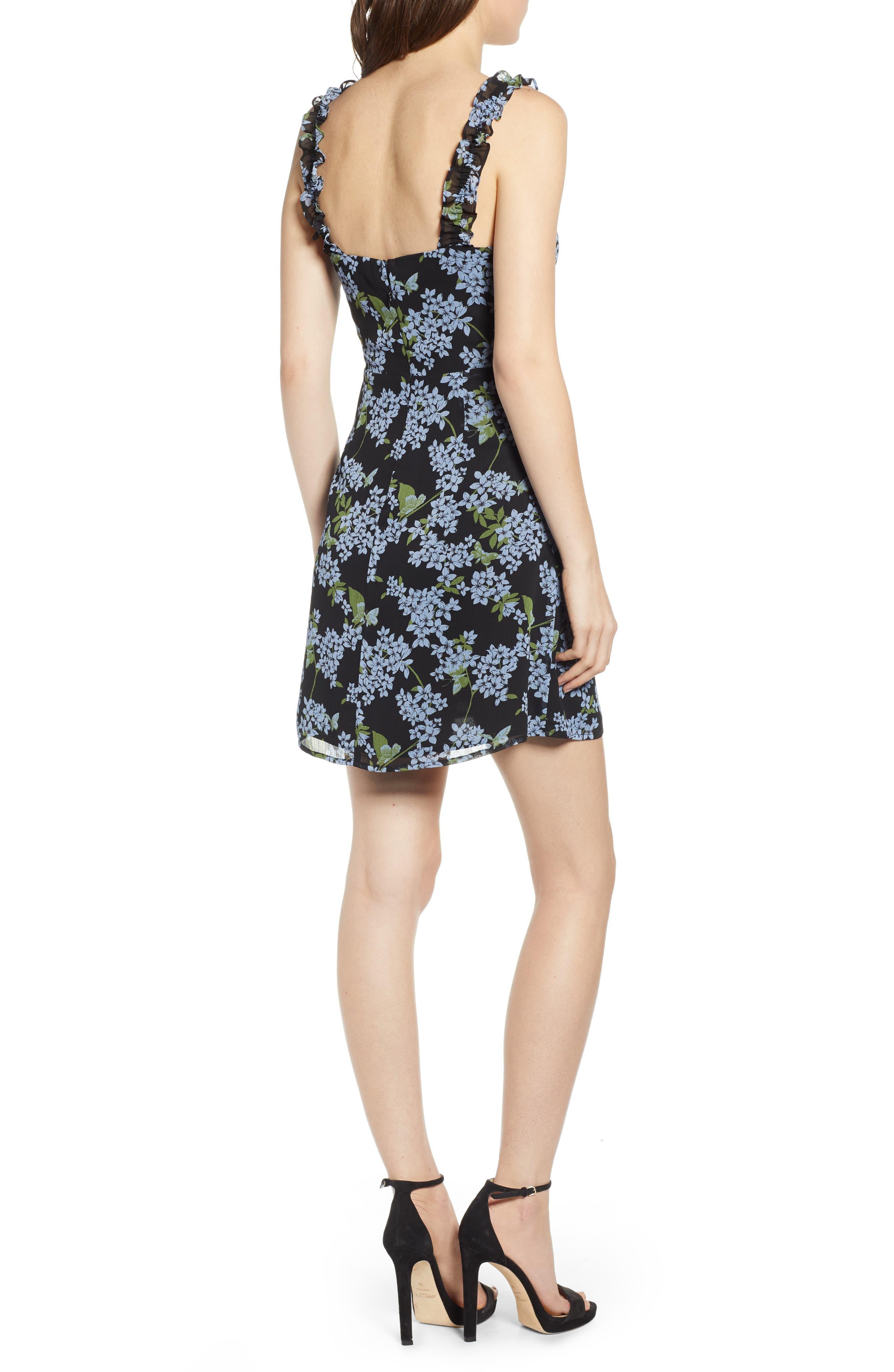 ,                             Stella Ruffle Strap Minidress,                             Alternate thumbnail 2, color,                             BLACK BLUE FLORAL