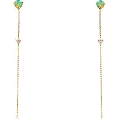 Wwake Opal & Diamond Linear Chain Earrings