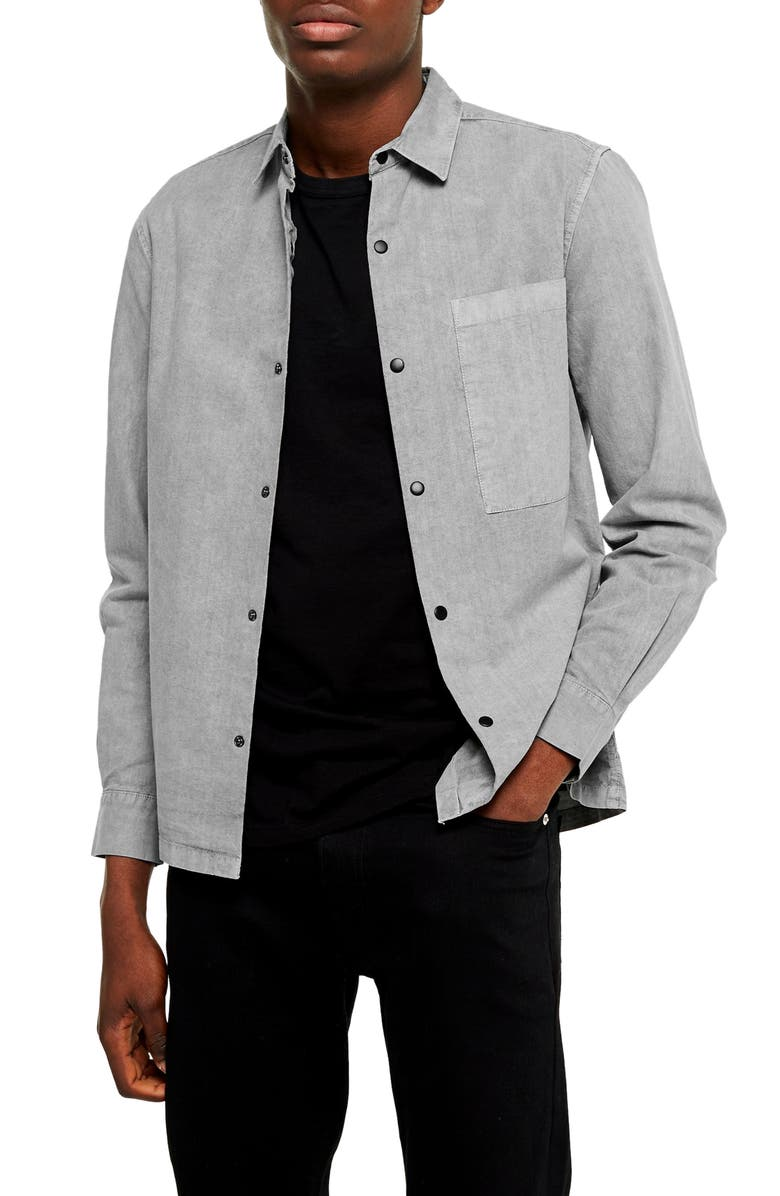 TOPMAN Slim Fit Snap Front Shirt, Main, color, GREY
