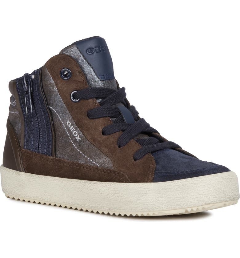 GEOX Alonisso 39 High Top Sneaker, Main, color, COFFEE/ NAVY