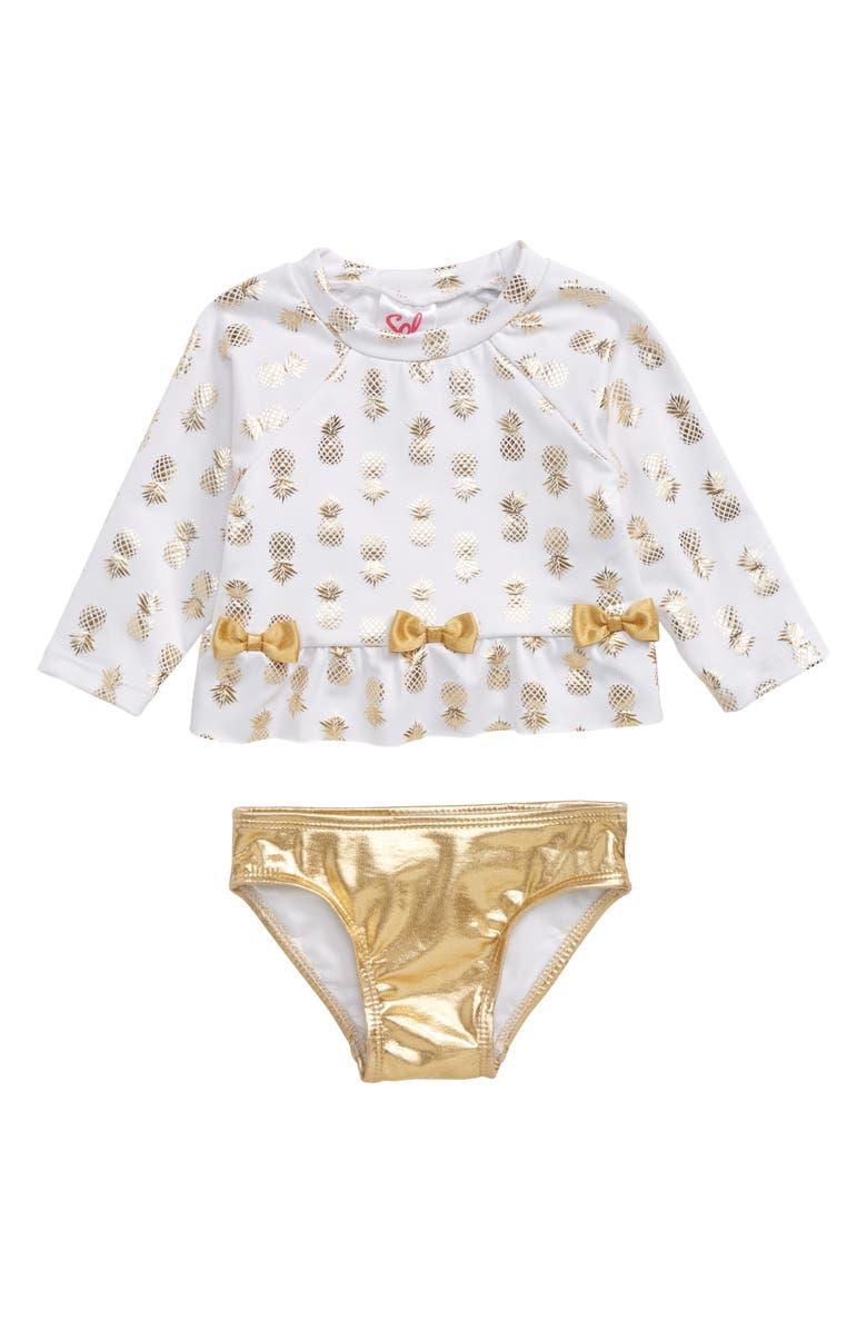 SOL SWIM Gold Pineapple Two-Piece Rashguard Swimsuit, Main, color, 710