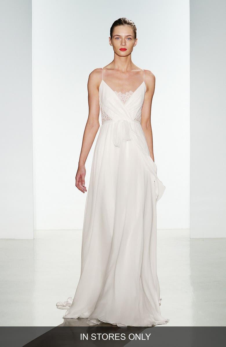 Christos Bridal Tinsley Silk Chiffon Lace Spaghetti Strap Gown