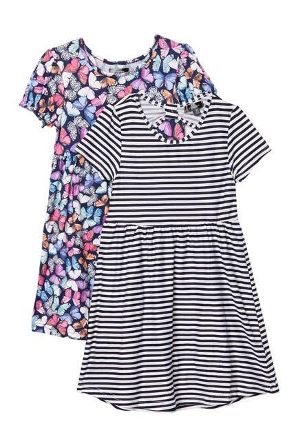 Image of Penelope Mack Crew Neck Patterned Dress - Pack of 2