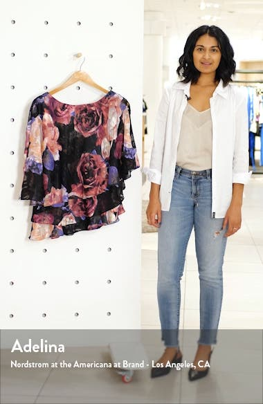 Floral Print Tiered Chiffon Blouse, sales video thumbnail