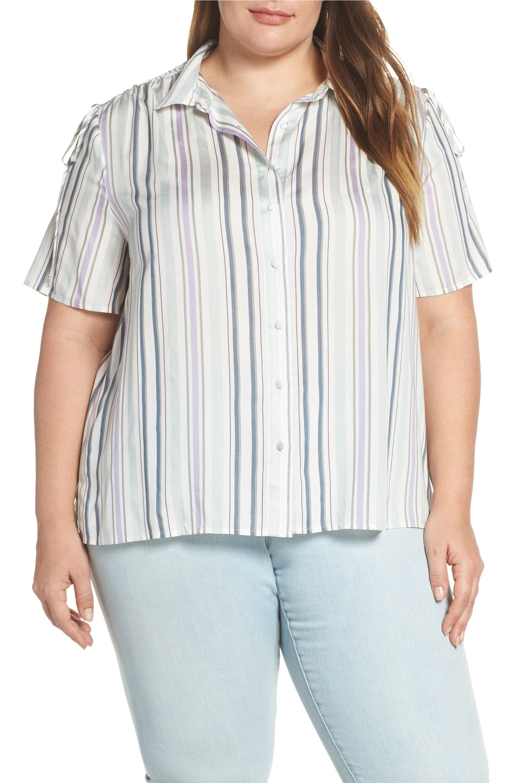 71051b2d259a Vince Camuto Drawstring Shoulder Stripe Shirt (Plus Size) | Nordstrom