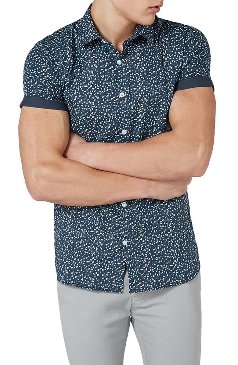 Topman Muscle Fit Marble Print Shirt | Nordstrom