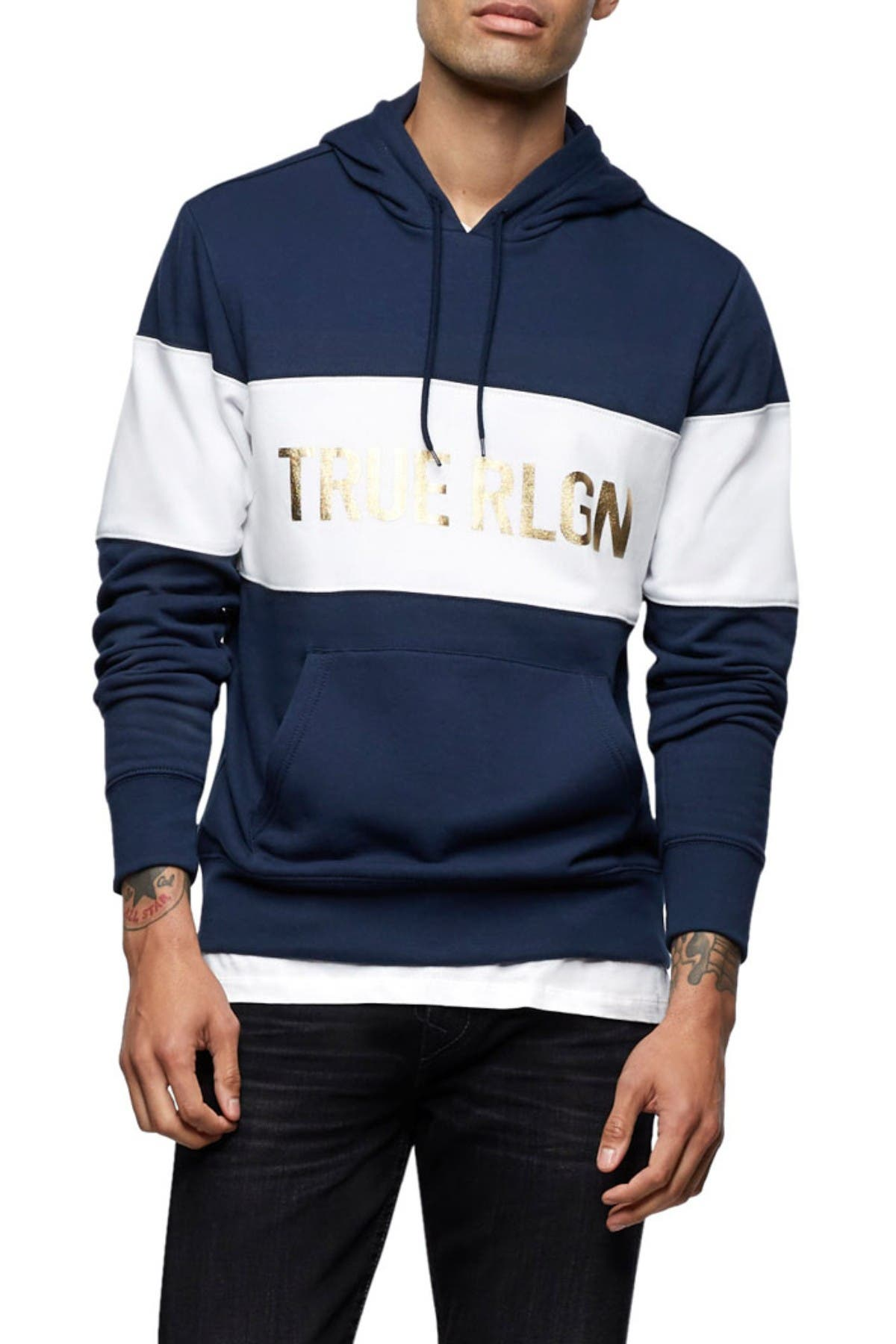 Image of True Religion Colorblock Stripe Drawstring Hoodie