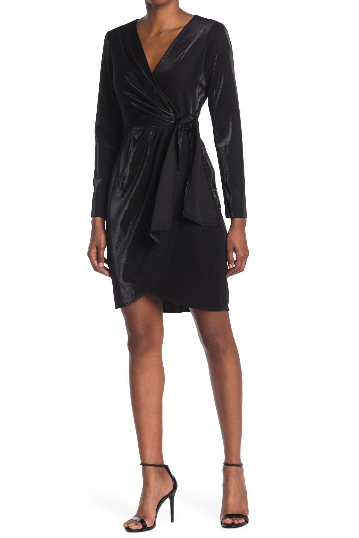 Image of Julia Jordan Liquid Jersey Long Sleeve Faux Wrap Dress