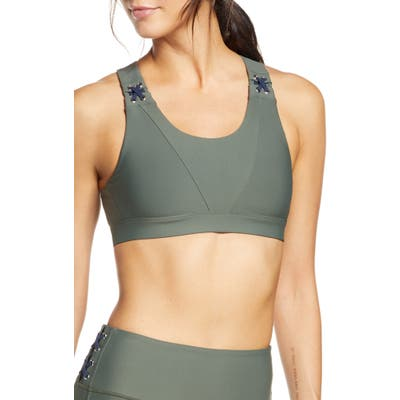 Soul By Soulcycle Lace-Up Sports Bra, Green