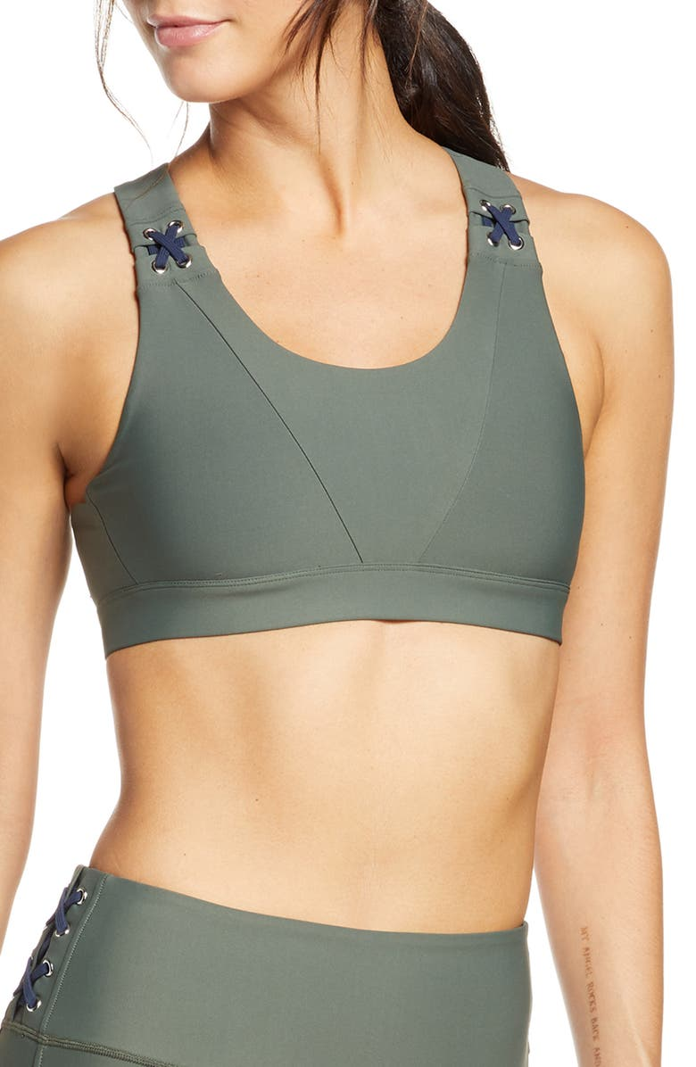 SOUL BY SOULCYCLE Lace-Up Sports Bra, Main, color, THYME