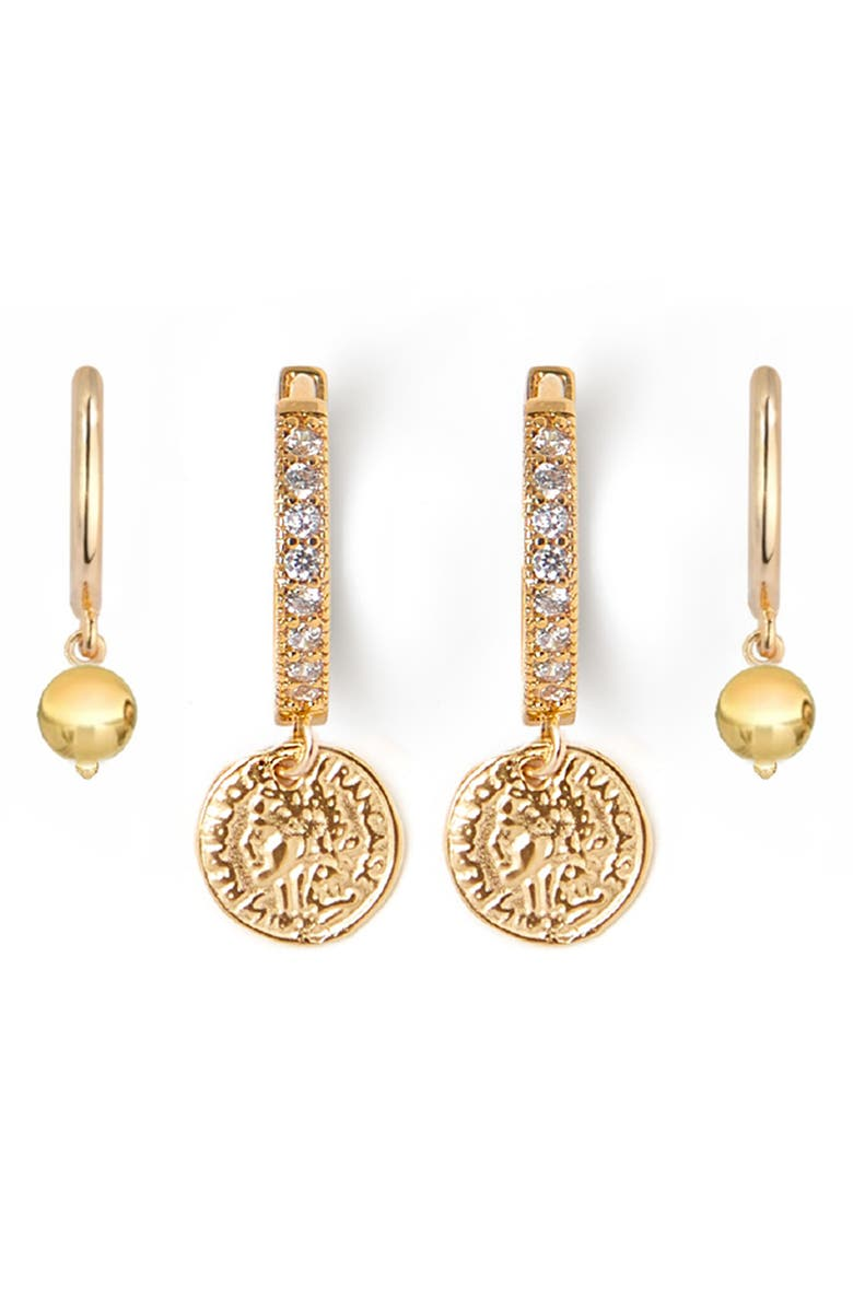 TESS + TRICIA Set of 2 Huggie Earrings, Main, color, GOLD