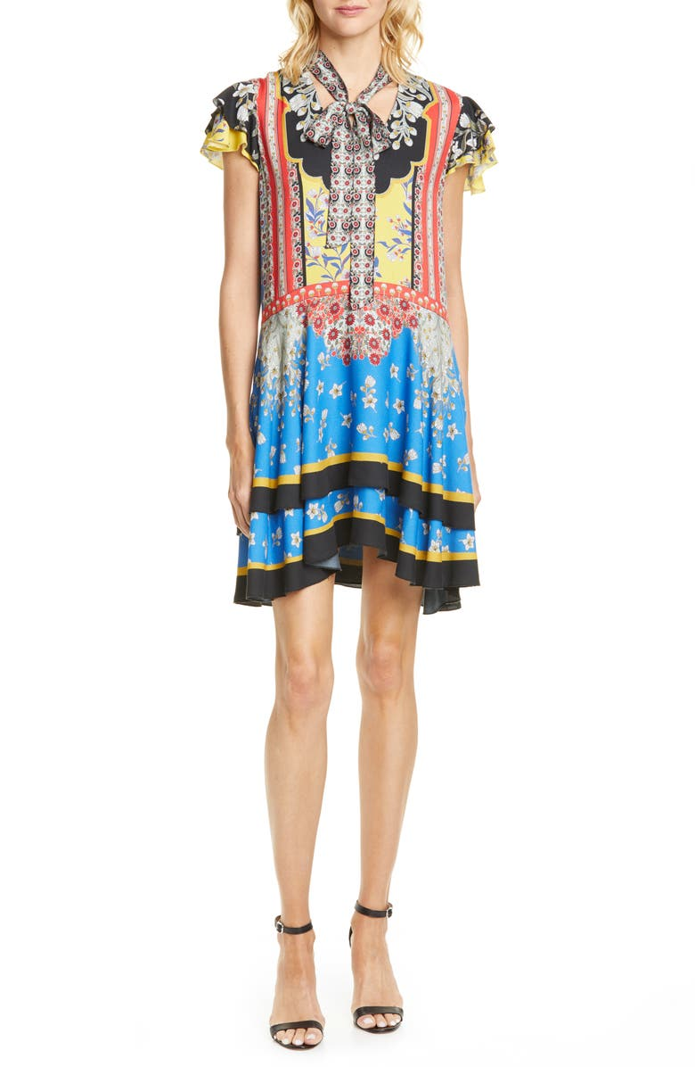 ALICE + OLIVIA Moore Mix Print Minidress, Main, color, PALACE DAFFODIL