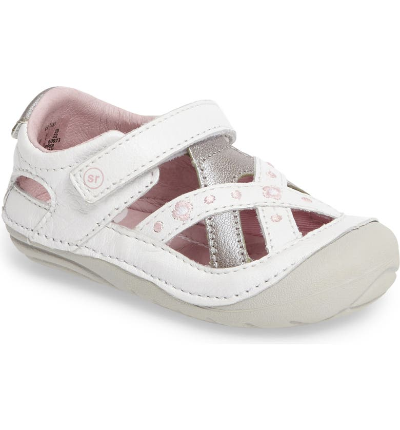 STRIDE RITE Kiki Embroidered Sneaker, Main, color, WHITE