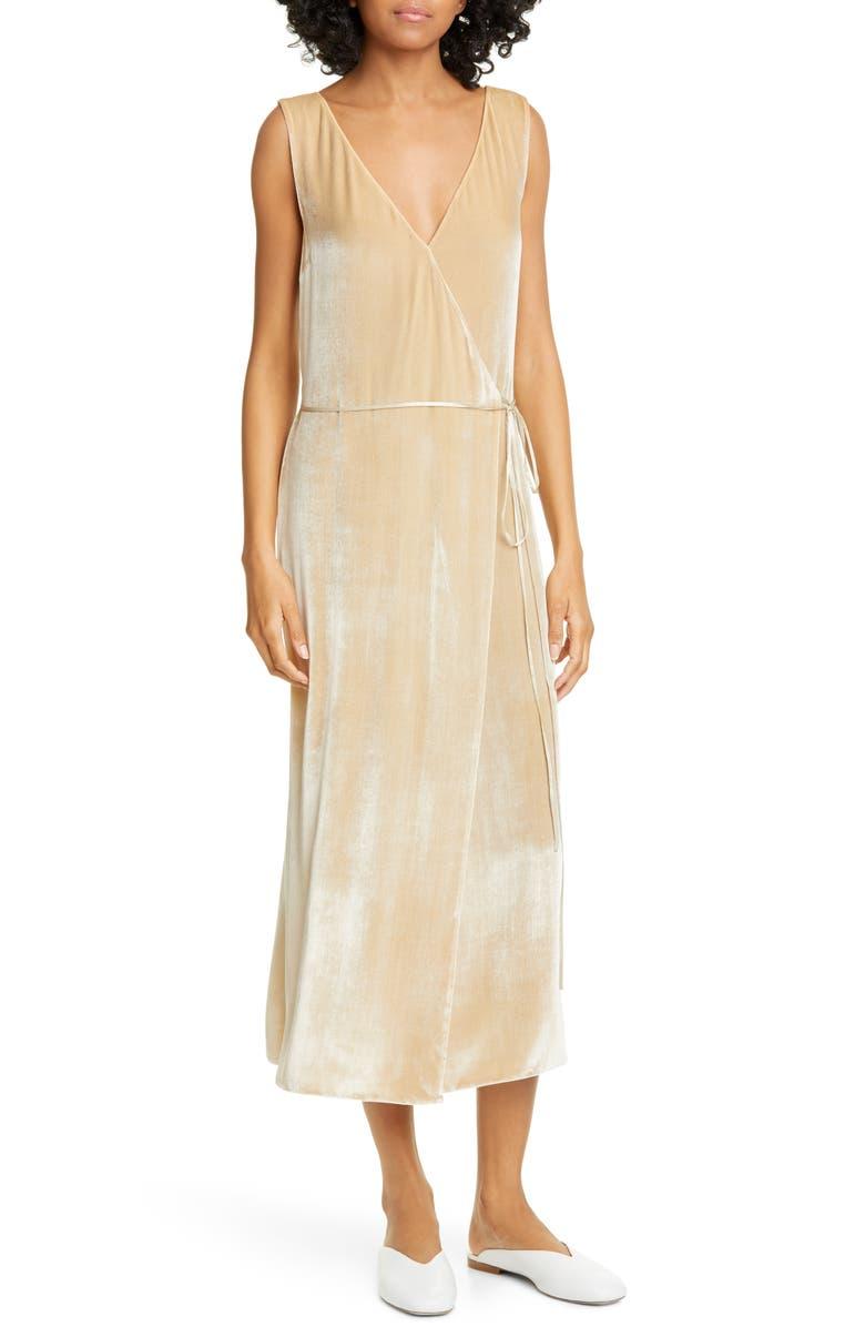 VINCE Pann Velvet Wrap Midi Dress, Main, color, CHIFFON