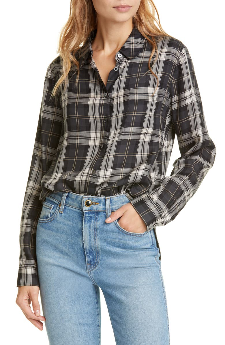 JENNI KAYNE Plaid Placket Back Long Sleeve Shirt, Main, color, 001