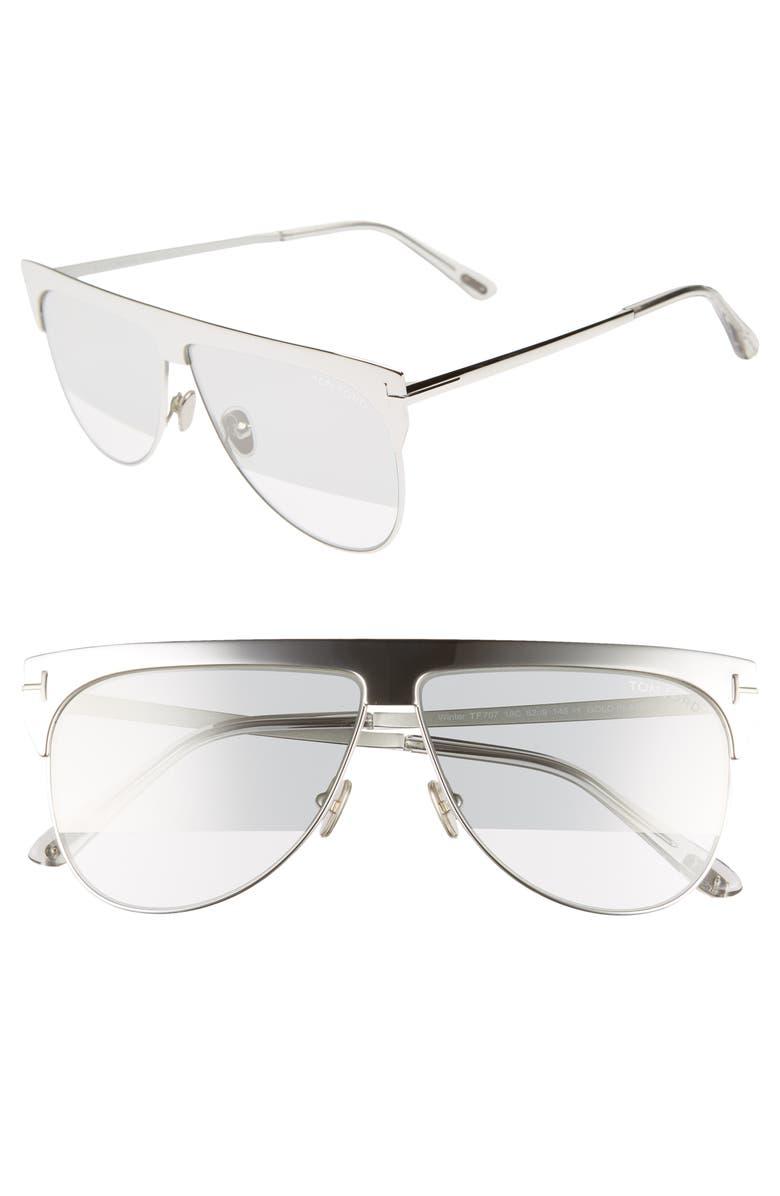 TOM FORD Winter 62mm Rectangular Sunglasses, Main, color, 040