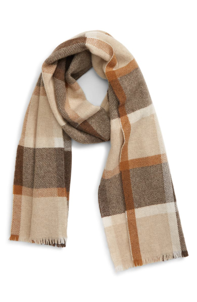 ANDREW STEWART Plaid Cashmere Scarf, Main, color, BROWN TAN