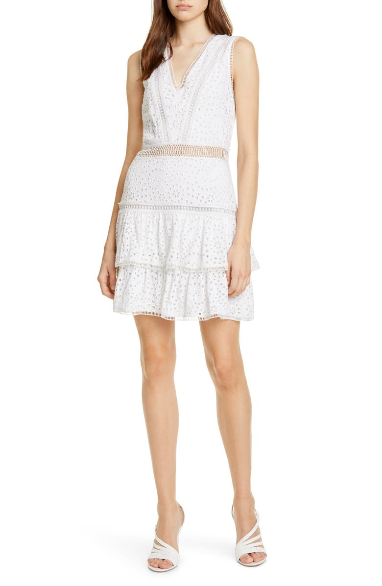 ALICE + OLIVIA Tonie Lace Trim Eyelet Dress, Main, color, WHITE