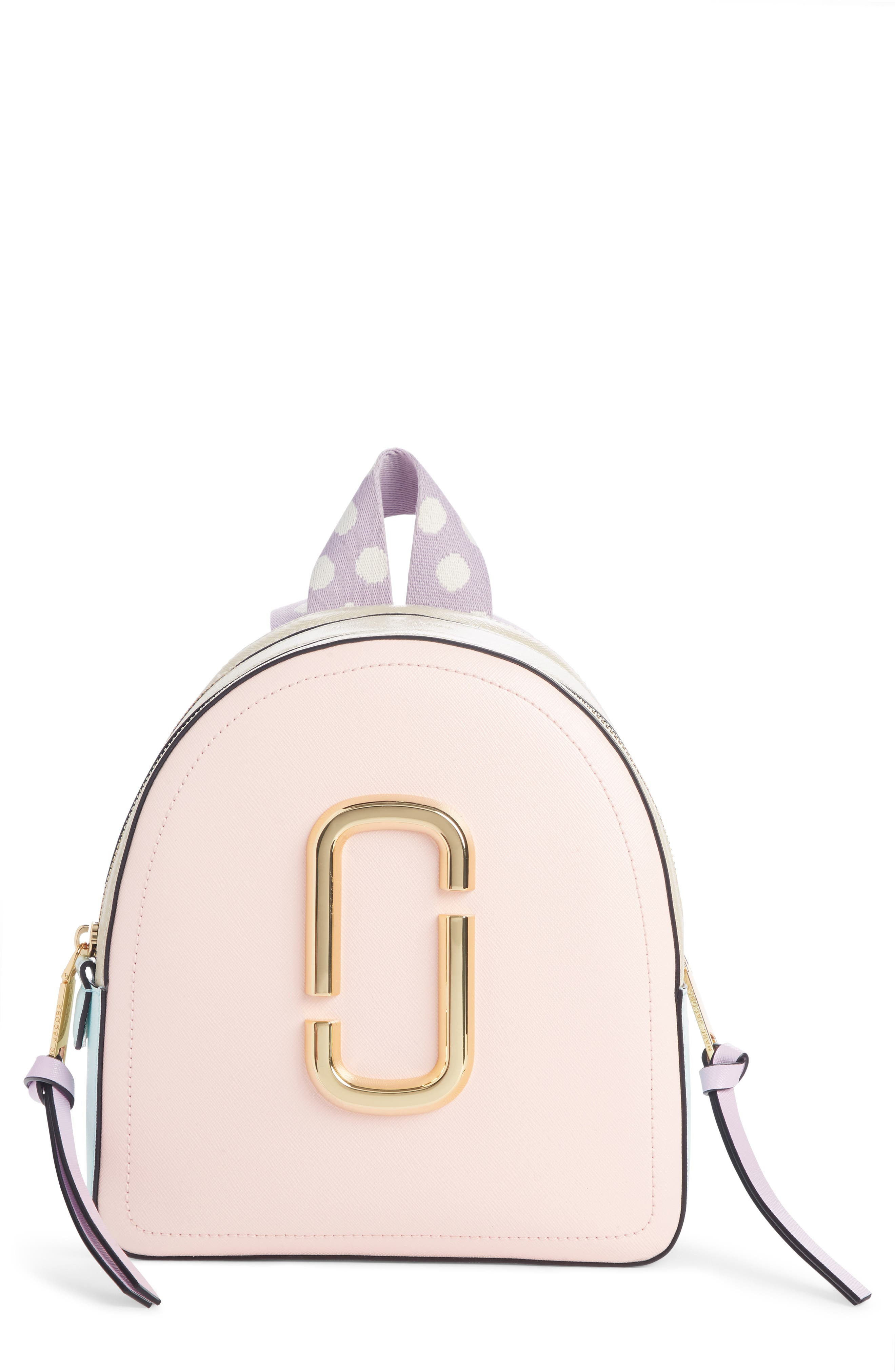 Pack Shot Leather Backpack, Main, color, BLUSH MULTI