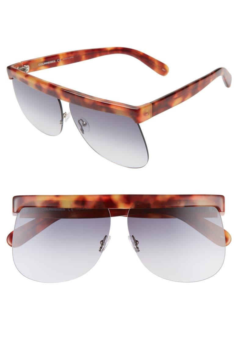 COURREGES The Mask 66mm Oversize Flat Top Sunglasses, Main, color, BROWN HAVANA/ BLUE GRADIENT