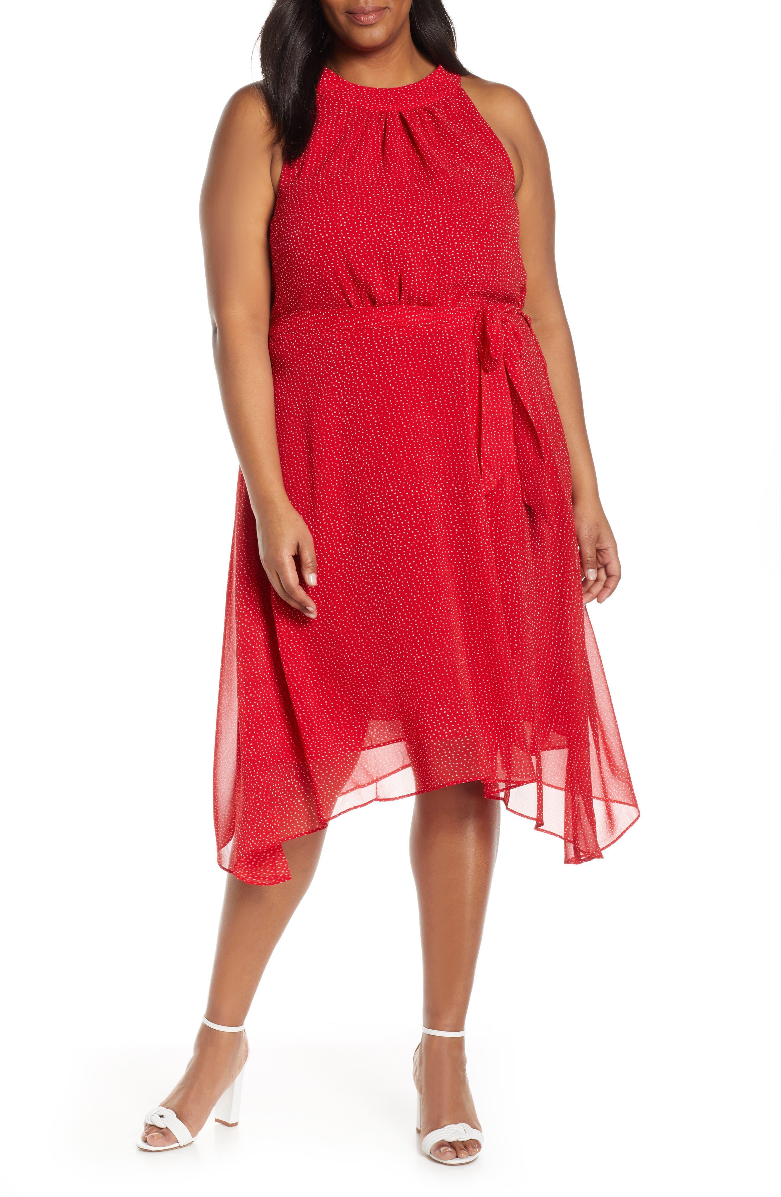 plus size women's estelle ruby rose halter neck handkerchief hem dress