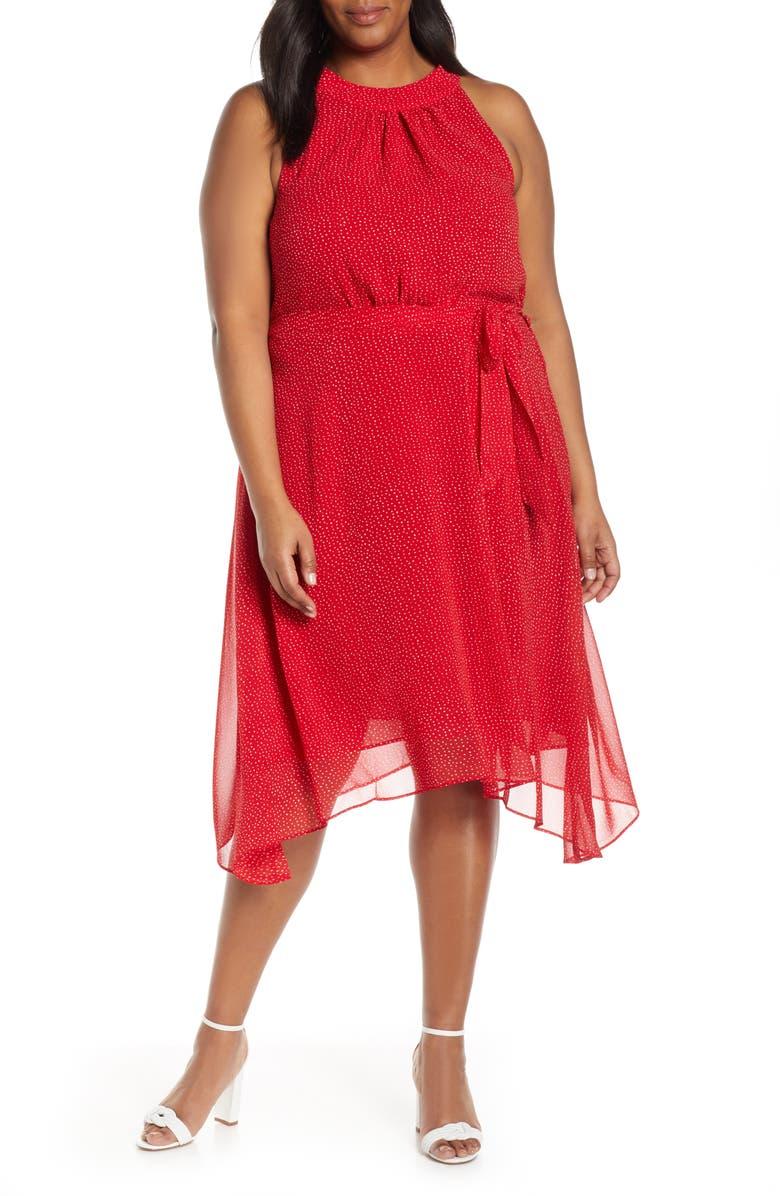 ESTELLE Ruby Rose Halter Neck Handkerchief Hem Dress, Main, color, RED/ MILK DOT