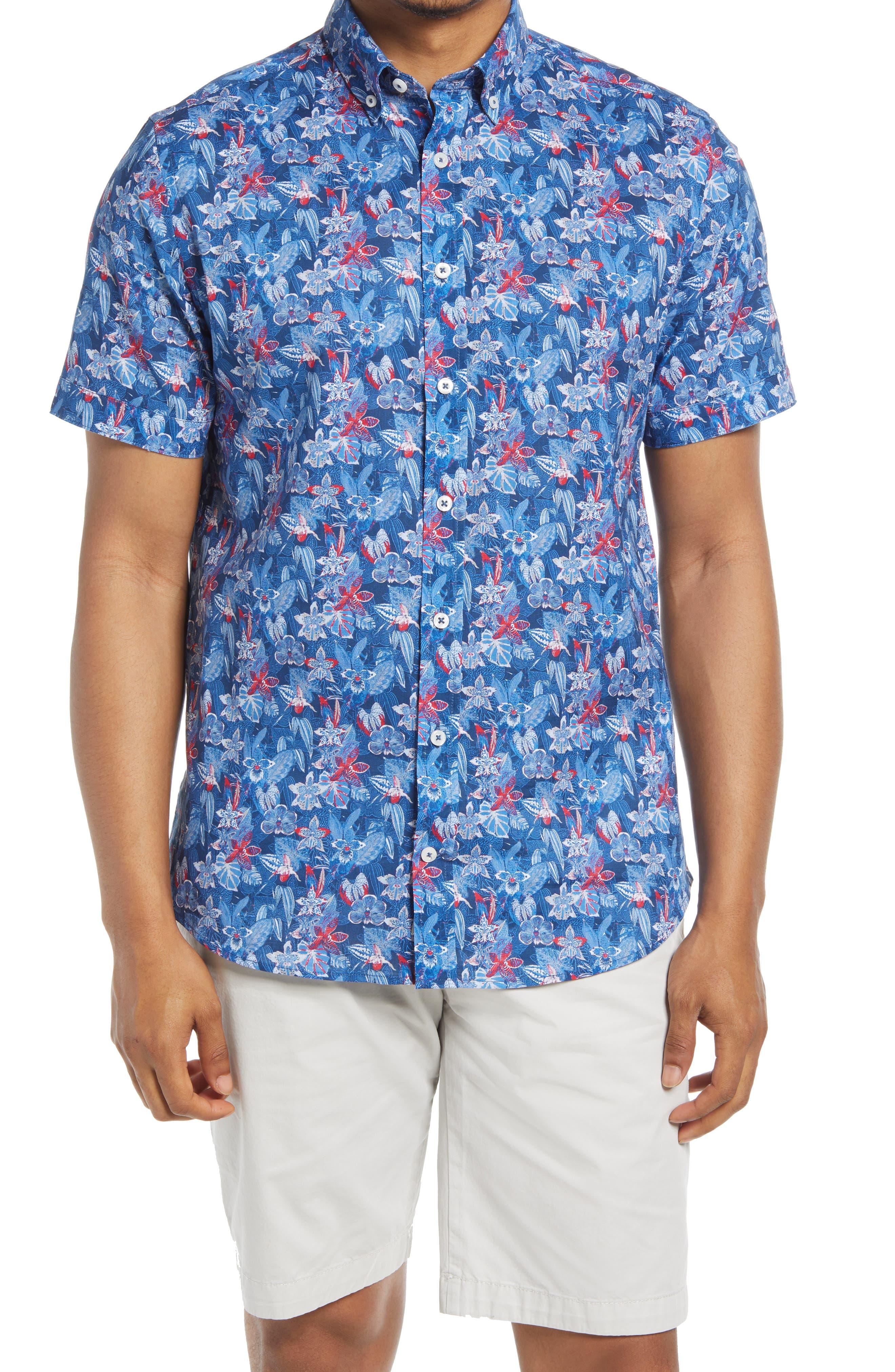 Floral Short Sleeve Button-Down Cotton Shirt