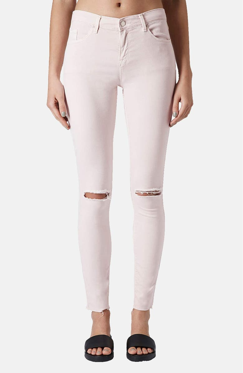 TOPSHOP Moto 'Leigh' Distressed Skinny Jeans, Main, color, 680
