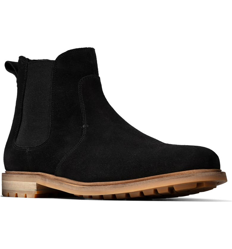 CLARKS<SUP>®</SUP> Foxwell Top Chelsea Boot, Main, color, BLACK SUEDE