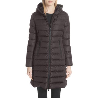 Moncler Taleve Hooded Quilted Down Coat, Grey