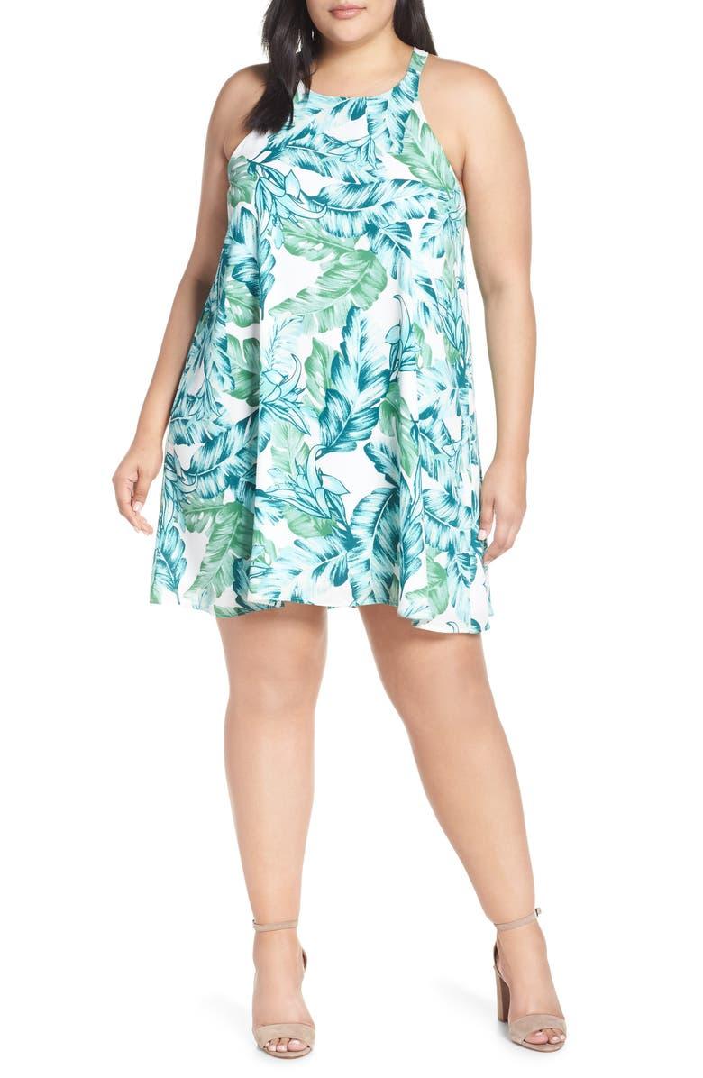 GIBSON x Hi Sugarplum! Naples Swing Halter Dress, Main, color, PALM PRINT