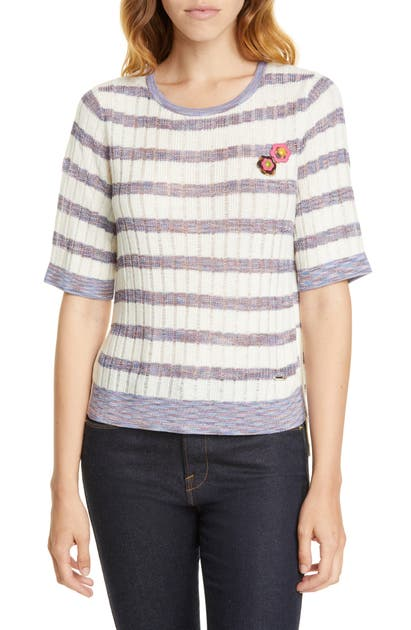 Ted Baker Colour By Numbers Pilosa Stripe Knit Top In White