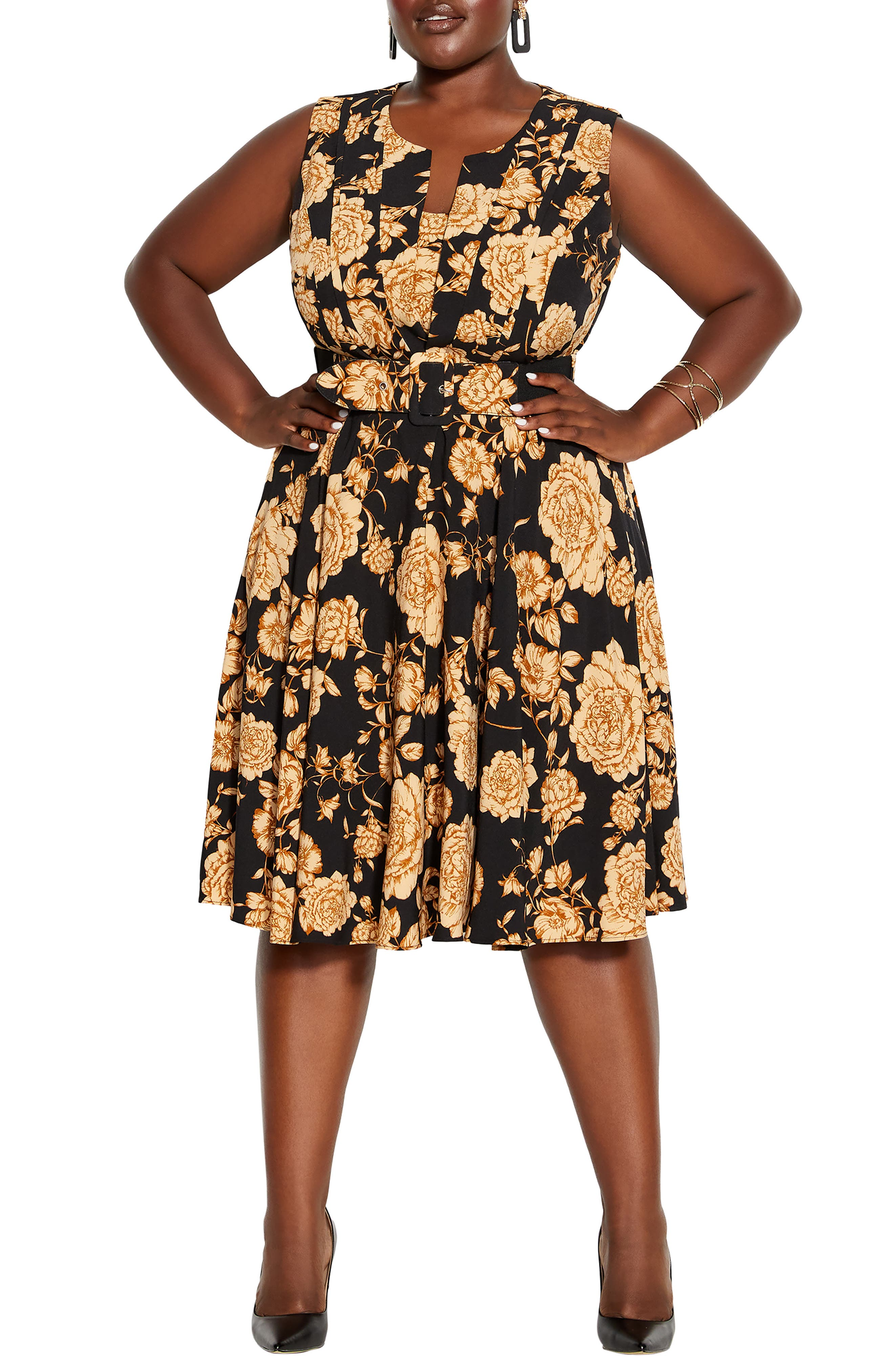 Luxe Floral Belted Fit & Flare Dress