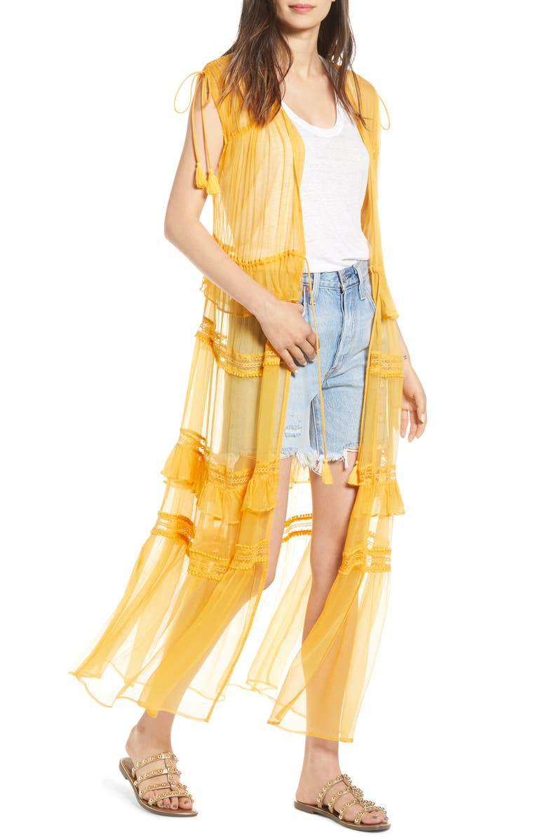 NFC Tiered Lace Sheer Duster, Main, color, 700