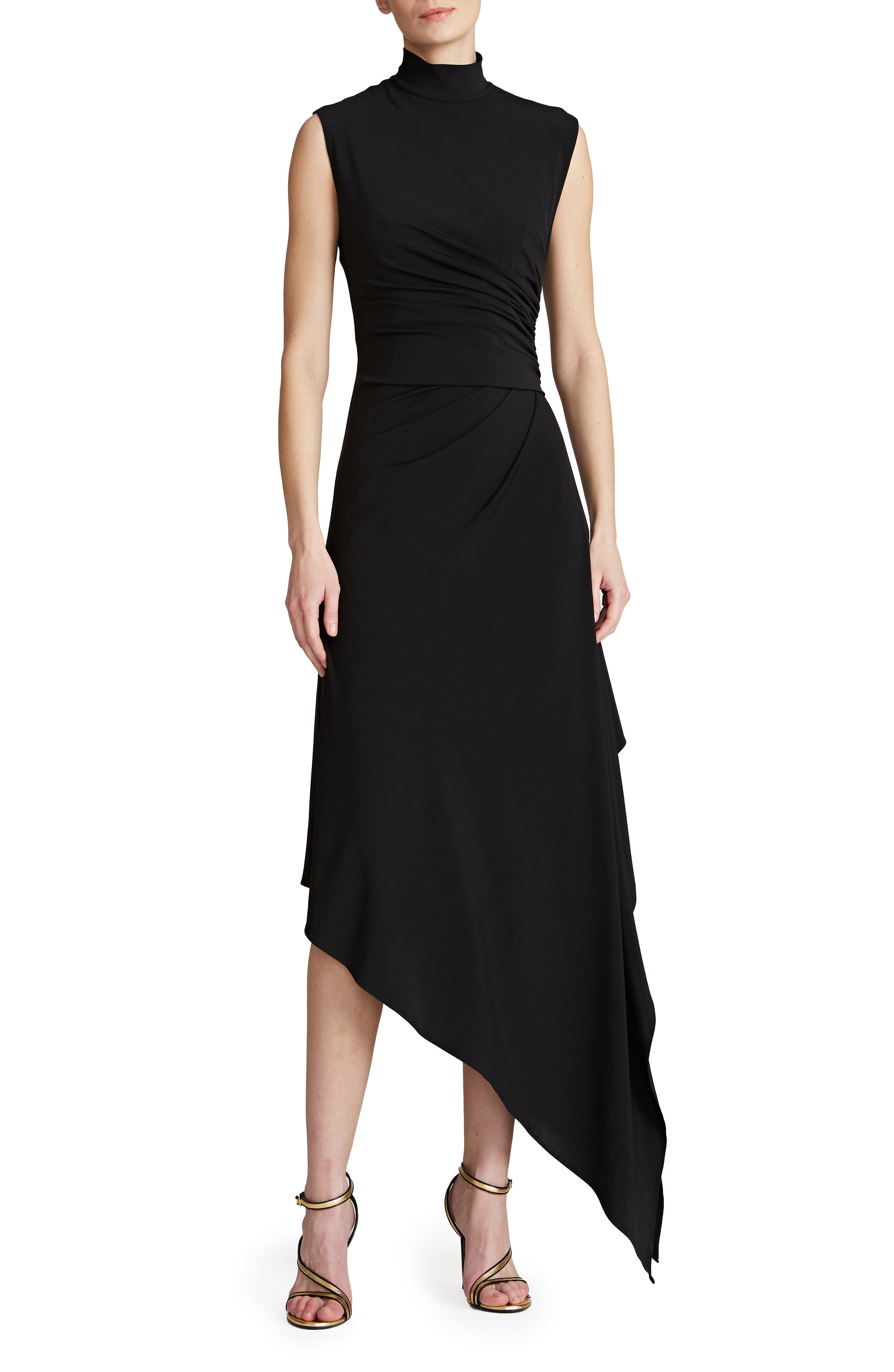 Layla Side Drape Asymmetric Jersey Cocktail Dress