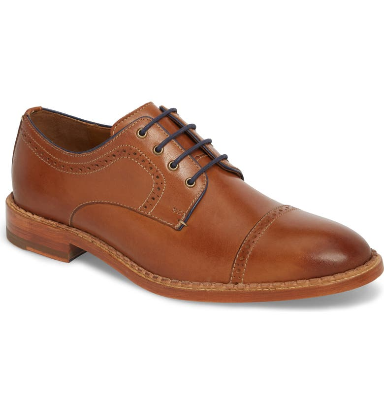 JOHNSTON & MURPHY J&M 1850 Chambliss Cap Toe Derby, Main, color, TAN LEATHER