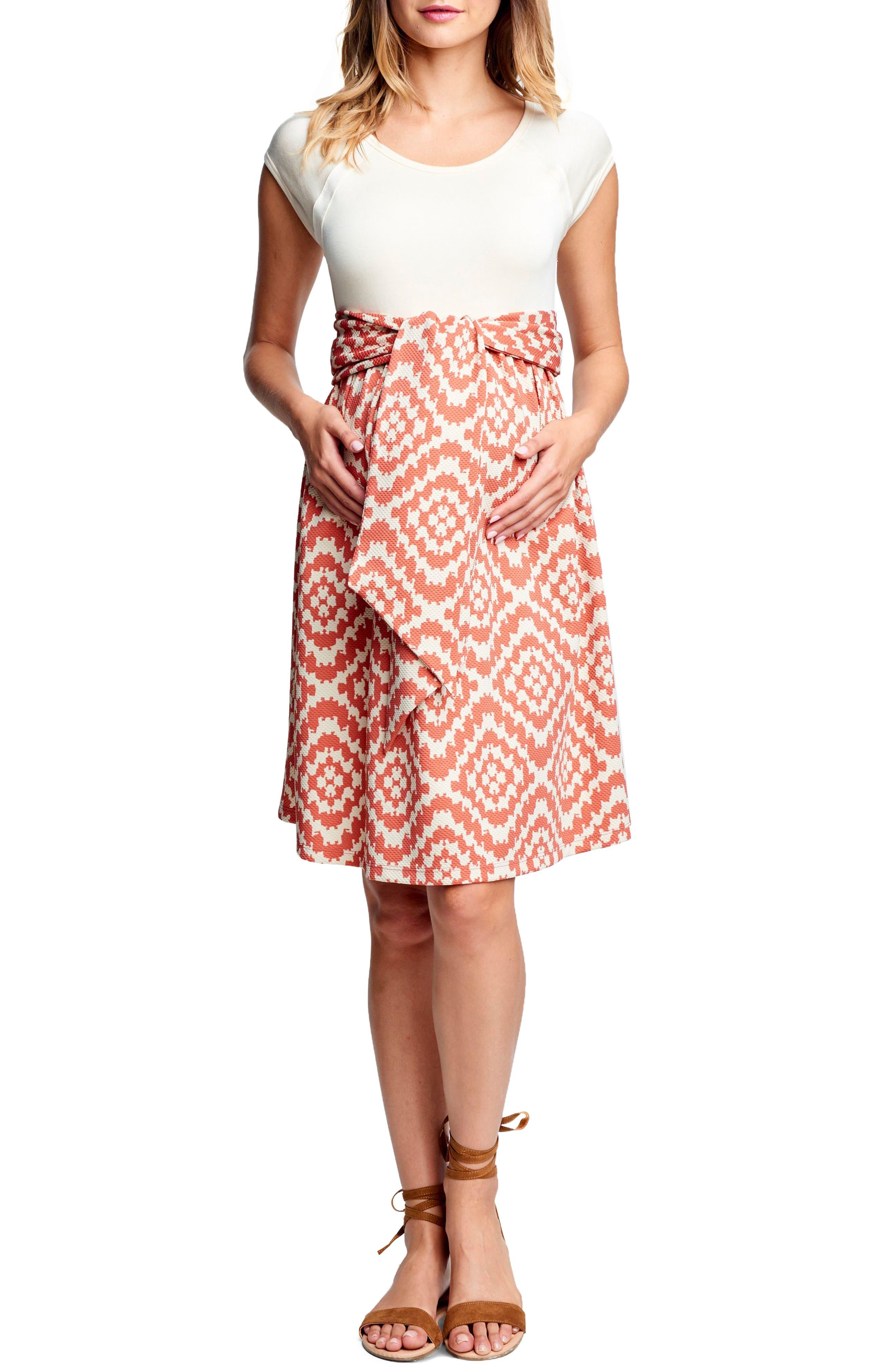 Maternal America Tie Front Maternity Dress, Ivory