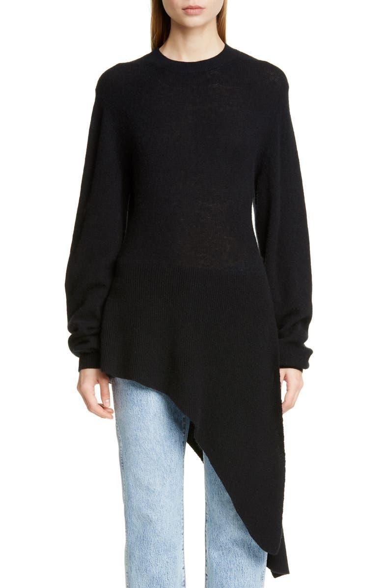 KHAITE Esme Asymmetrical Stretch Cashmere Sweater, Main, color, BLACK