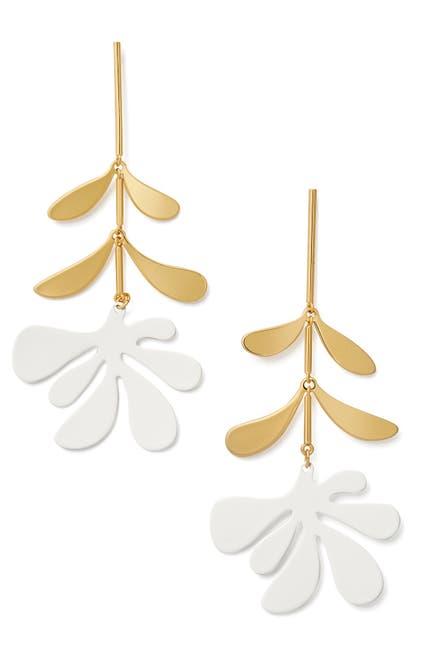 Image of kate spade new york botanical garden 14K gold plated enamel floral linear drop earrings