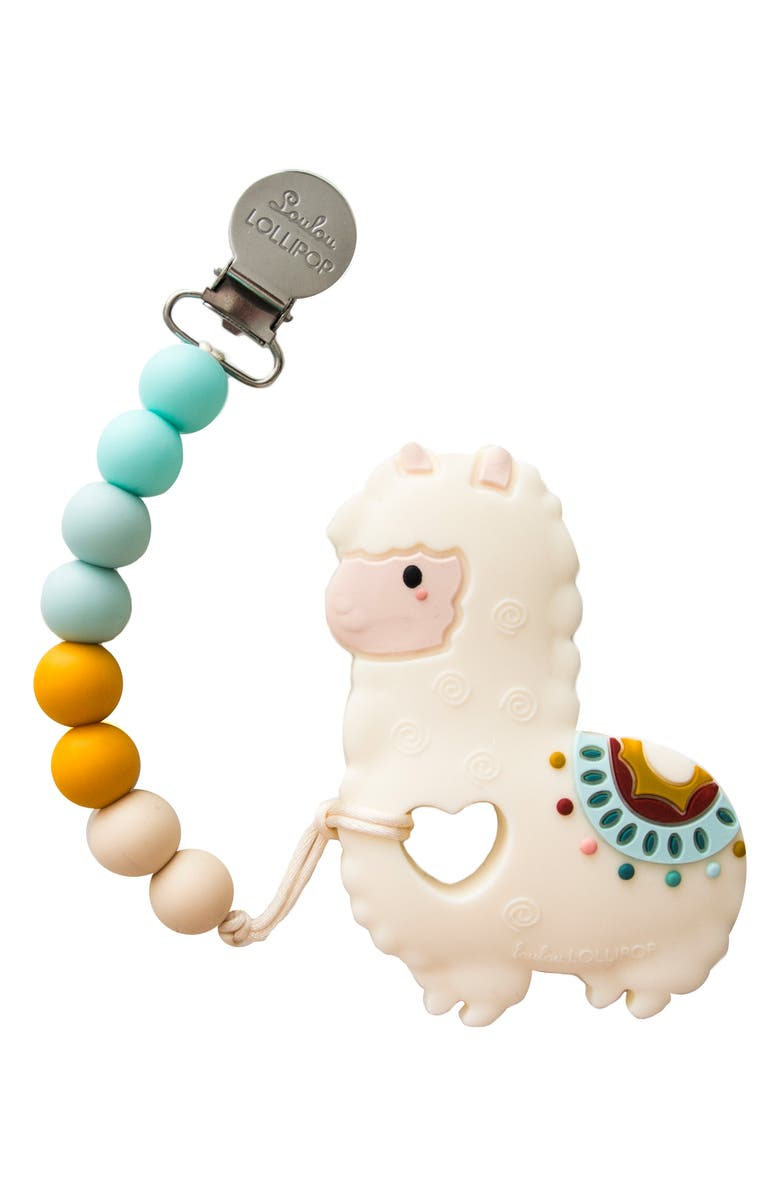 LOULOU LOLLIPOP Llama Teething Toy & Holder, Main, color, WHITE MULTI