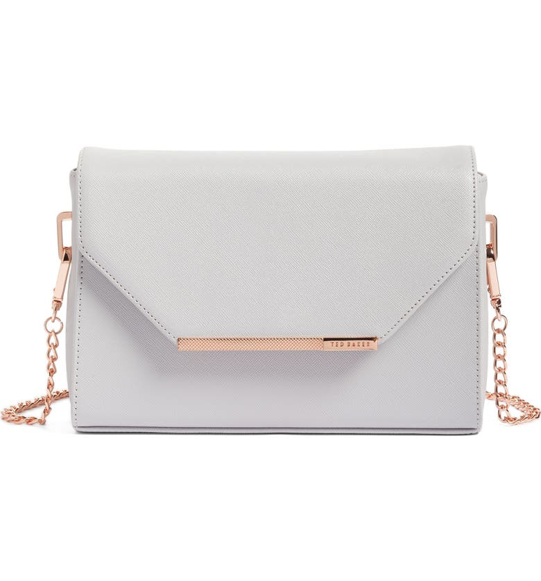 TED BAKER LONDON Textured Bar Faux Leather Crossbody Bag, Main, color, 050