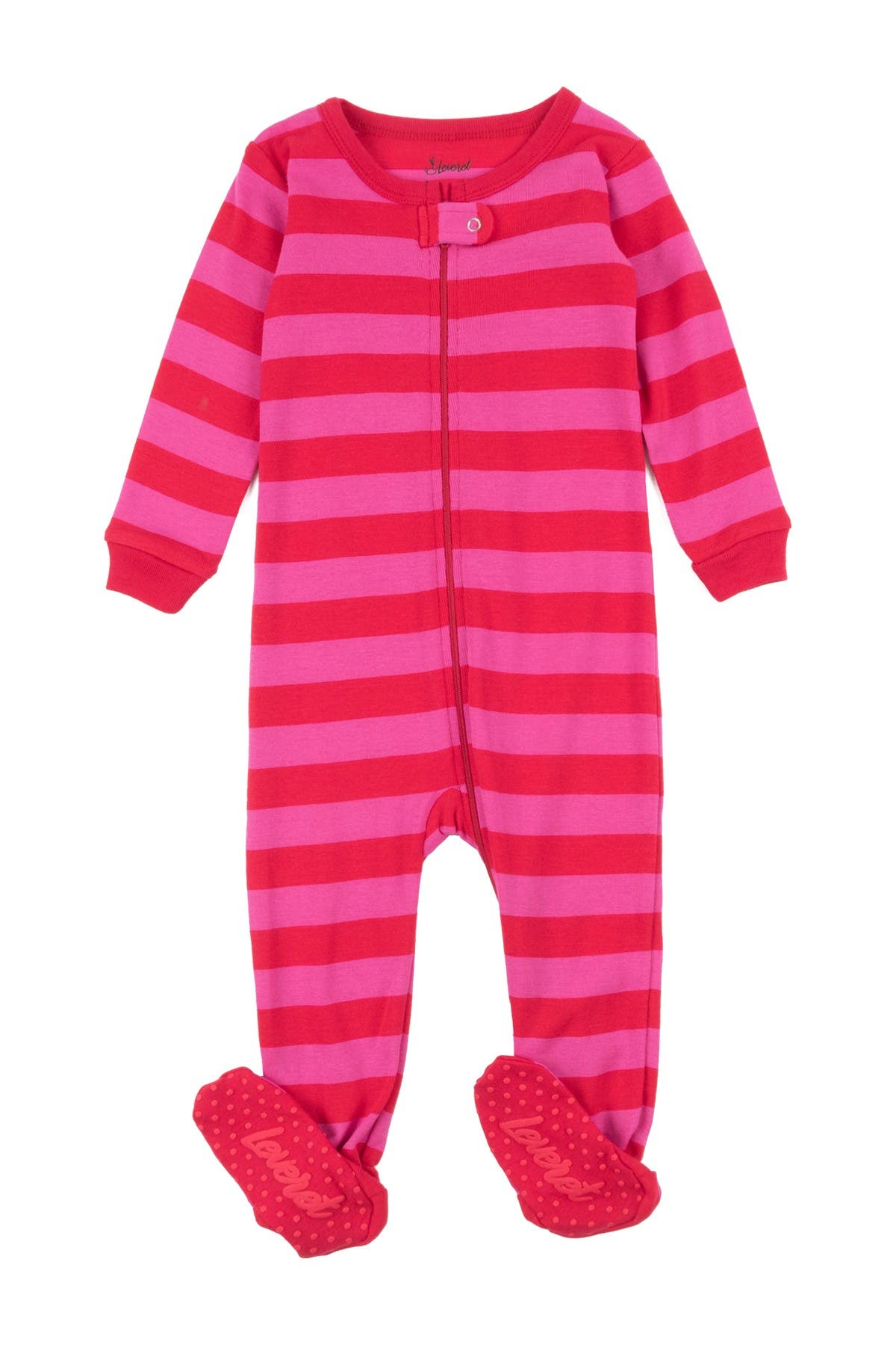 Image of Leveret Red and Pink Stripes Footed Sleeper Pajama