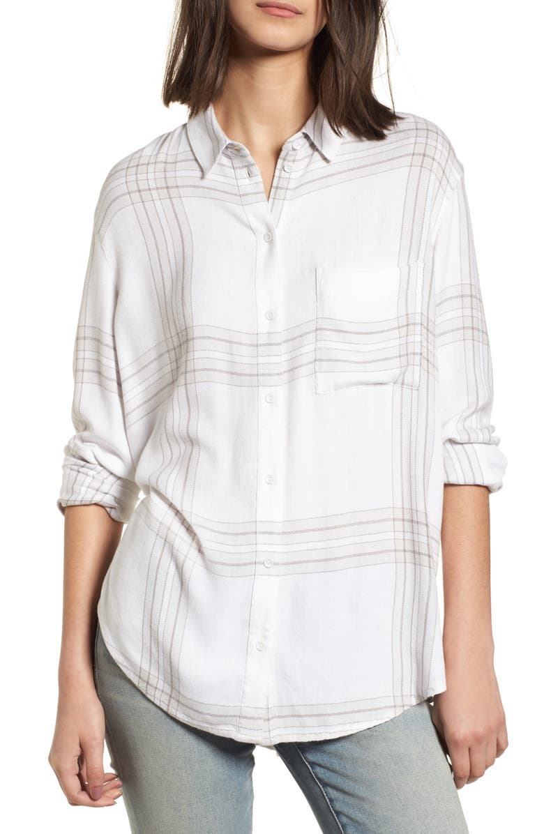 TREASURE & BOND Drapey Plaid Shirt, Main, color, 102