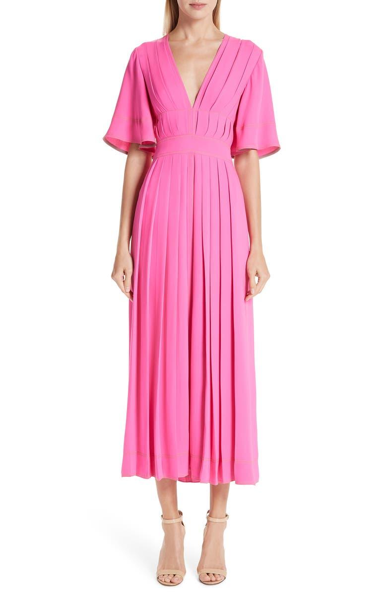 ROKSANDA Pleated Silk Georgette Midi Dress, Main, color, 650