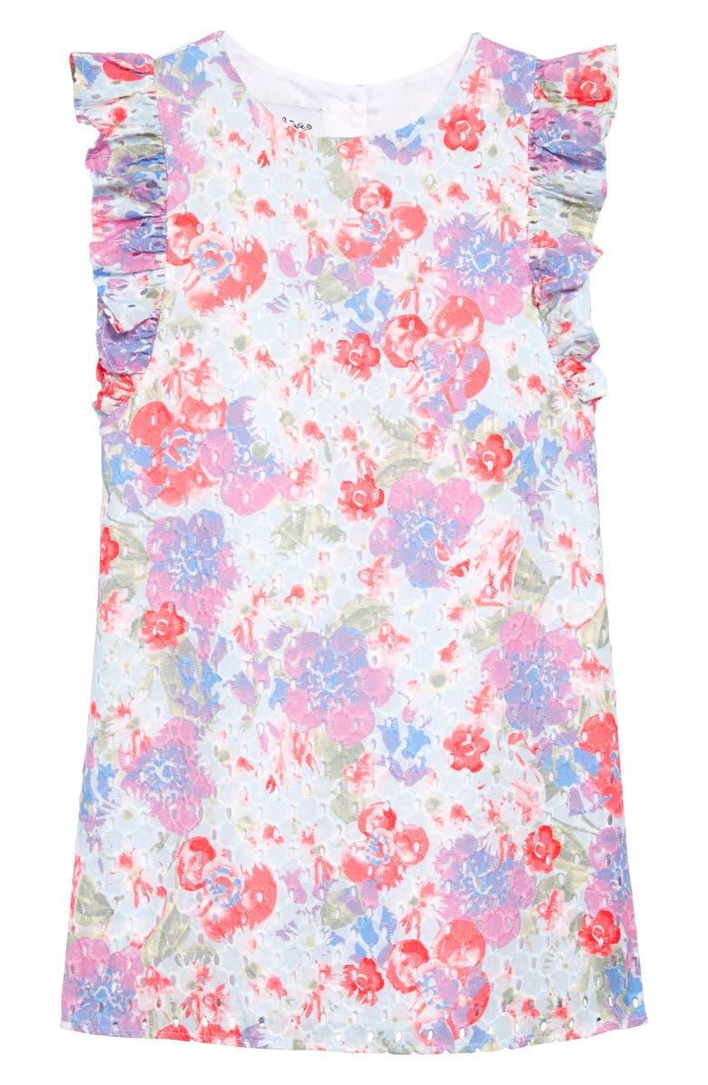 PIPPA & JULIE Floral Print Eyelet Shift Dress, Main, color, 650