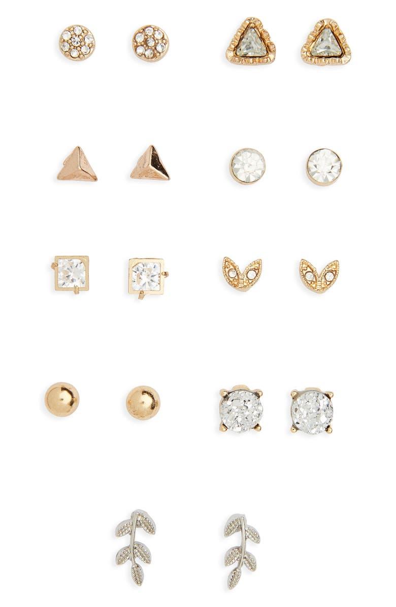 BP. 9-Pack Stud Earrings, Main, color, 710