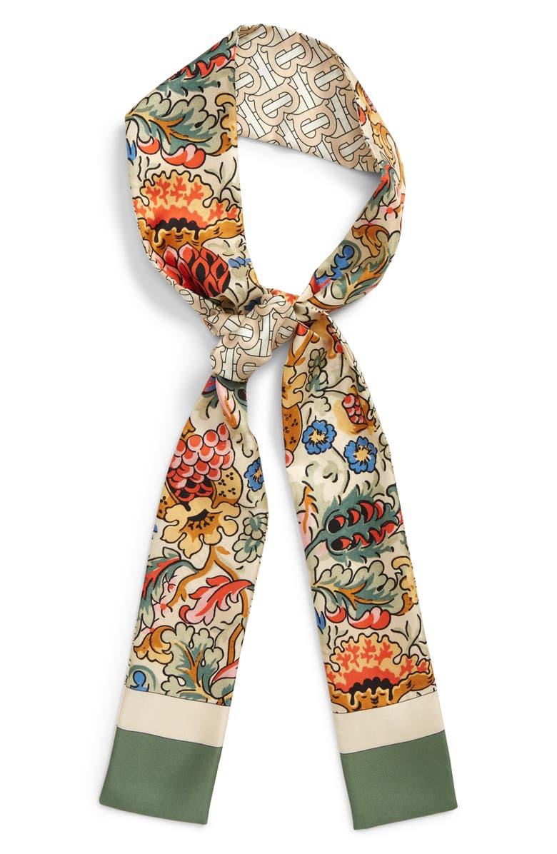 Floral & TB Monogram Print Skinny Silk Scarf, Alternate, color, SAGE GREEN